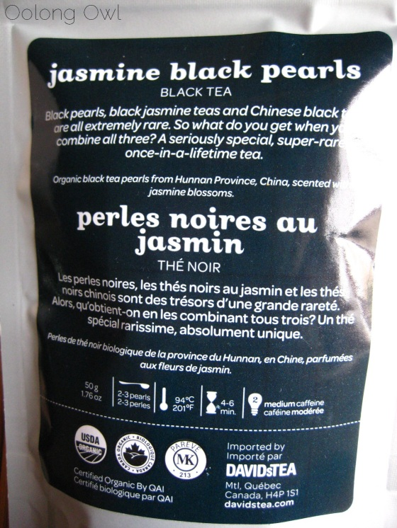 Jasmine Black Pearls from DAVIDsTEA - Oolong Owl Tea Review (1)